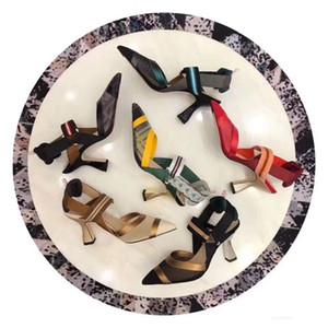 2018 лето новый стиль женщины сандалии из натуральной кожи сетки лоскутное острым носом одно слово пряжки высокий каблук женская обувь