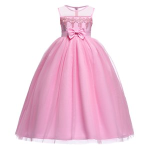 2018 Pink Long Girl's Dresses del desfile Jewel Lace Applique Una línea Kids Wedding Party Vestido formal Toddler First Communion Bautizo Desgaste