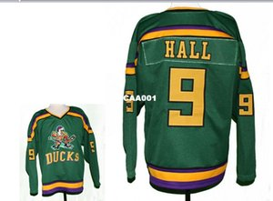 Real Men real Full embroidery #9 Jesse Hall #9 Mighty Ducks Movie Hockey Jersey or custom any name or number Hockey Jersey