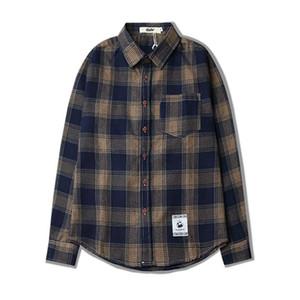Homens da manta Manga comprida camisas de algodão puro Casual Plaid shirt Homens Checkered camisas de vestido esguio e elegante de Moda de Nova M ~ XXL