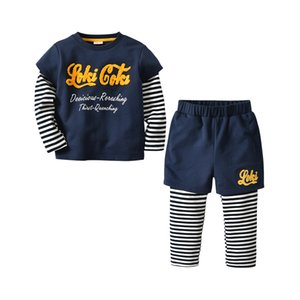 2020 autumn and winter children's sweater suit letter three-dimensional boy's sweater long-sleeved fake two-piece long-sleeved shirt