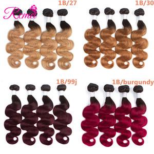 Rcmei Body Wave Ombre Cheveux Humains 1b 30/27 / 99j / Bourgogne Remy Ombre Peruvian Hair Weave Bundles 4 Bundles Brésilien / Indien / Mongol / Malaisien