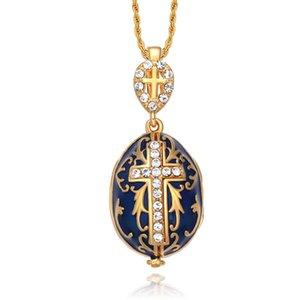 Geschenk Halskette Jesus zum Emaille Ostern Kreuz Ei heißeste Frauen Charme Kristall Strass Schmuck Piercing Faberge Handgemachte Anhänger KQNOU