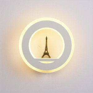19W pared de luz LED AC85-265V pared Mouted París Torre lámpara de pared de acrílico redonda cubierta de la lámpara decorativa para el dormitorio Estudio Foyer