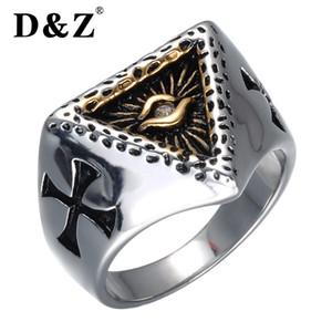 DZ oro religioso preghiera anello croce croce acciaio inossidabile 316L titanio piramide Eye Rings per gli uomini gioielli