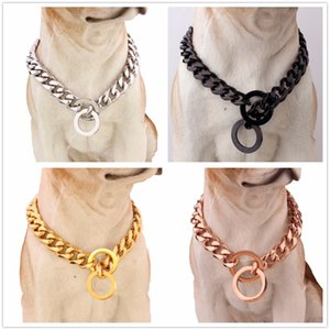 """Silver/Gold/Black/Rose Gold Stainless Steel 15/19mm Wide Curb Cuban Link Chain Dog Chain Collar 12-32"""" Length"""