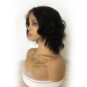 Full Lace Human Hair Wig Wavy Short Wave Natural Wave Pre-plucked Hairline Brazilian Virgin Hair Lace Front Wig With Baby Hair