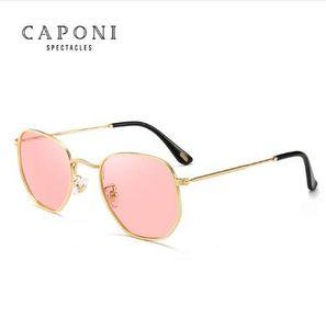 Caponi Polygonal Polarisierte Sonnenbrille Frauen Männer Luxus Retro Metall Sonnenbrille Vintage Oculos De Sol Feminino UV400 1081