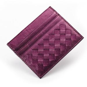 الموضة الجديدة البنك بطاقة الهوية حالة جلد الغنم مضفر الجلود حامل بطاقة الأعمال 10 ألوان 20 فتحات