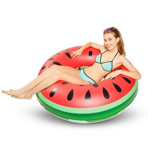 Círculo inflable de la sandía Flotador Adulto / Niño Vida grande Boya Inflable divertido anillo para piscina Círculo Dispositivo de natación 120 cm