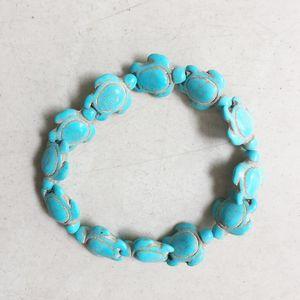 Carved Sea Howlite Turtle Bead Stone Charm Bracelets Jewelry 14*18mm White Blue Mix Turquoises Tortoise Bracelets with Customize