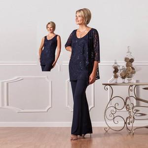 Nueva moda de tres piezas de gasa formal pantalones de la madre trajes personalizados más el tamaño de encaje de las mujeres azul marino de noche vestidos de boda para damas HY334