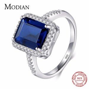 Дизайн Modian Мода Настоящее Стерлингового Серебра 925 Синий Специальный Вырез Свадебные Кольца Палец Ювелирные Обручальные Кольца Для Женщин S18101607
