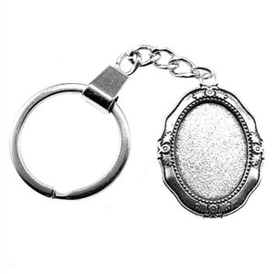 6 Pieces Key Chain Women Key Rings Fashion Keychains For Men Strange Inner Size 18x25mm Oval Cabochon Cameo Base Tray Bezel Blank