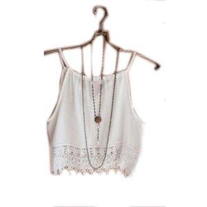 여성 섹시한 여름 민소매 캐롤 자르기 블라우스 탑 셔츠 Boho Lace Vest H36