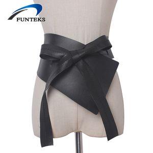 Commercio all'ingrosso cintura larga irregolare per le donne fasciatura regolabile Abito cintura nera morbida PU cinturino per le donne arco-nodo cintura larga