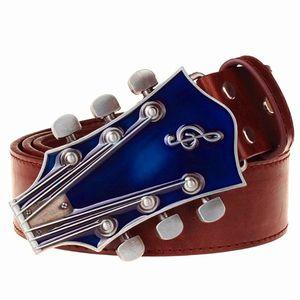 Ceinture en cuir à la mode en métal boucle de ceinture de musique guitare