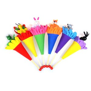 Animals Pop Up Puppets Telescopic Stick Rods Doll Kids Children Storytelling Toys - Fox Crow Bee Frog White Rabbit Gray Wolf