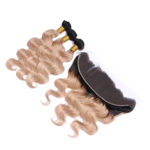 페루 허니 Blonde Human Hair Wefts with Frontal Closure 1B / 27 몸색 웨이브 번들이 달린 라이트 브라운 옹 브르 13x4 레이스 프론트