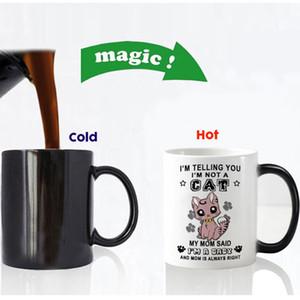 Nuevo diseño divertido gatos lindos que cambian de color taza de café de cerámica taza de té tazas mágicas para regalo de cumpleaños