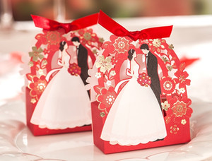 Favores de la boda Regalos Cajas Flores Red Wedding Party Candy Chocolate Favors Cajas Bride bride Regalos de papel Samll Boxes