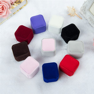 En vrac 12 couleur velours bijoux coffrets cadeaux pour anneaux de mariage couple de fiançailles emballage de bijoux carré spectacle Case Box 55 * 50 * 43 MM