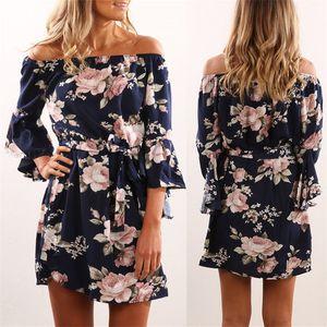 Abito da donna 2018 Estate Sexy Off Spalla Floral Print Chiffon Dress Boho Style Short Party Beach Abiti Vestidos de fiesta