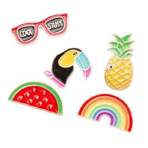 Acessórios de vestuário dos desenhos animados DIY broche emblema arco-íris Melancia Ananás Eyesweyes esmalte lapela Jacket Pinos do emblema Mulheres