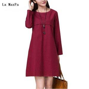 La MaxPa летнее платье с длинным рукавом женщины dress A-Line О-образным вырезом повседневная свободные хлопок белье твердые vestidos де феста