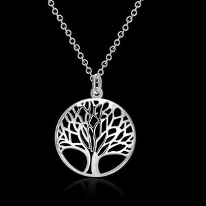925 مجوهرات فضة سيدة قلادة وقلادة شجرة الحياة تدور حول الجمهور N802 فقدت الترقيات المال!