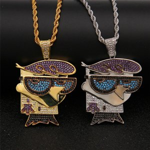 Marca Designer de Hip Hop Jóias Men Mr. Bird Pingente Colares Dos Desenhos Animados Multicor Cubic Zirconia Colar de Ouro