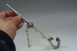 Çin Koleksiyon İşi Eski Tibet Gümüş Ejderha Sigara Aracı boru