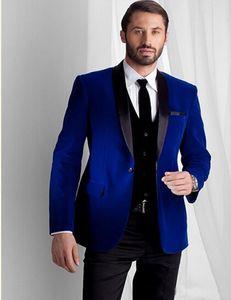 Royal Blue One Button Мужские костюмы Weddng шаль лацкан 3 шт