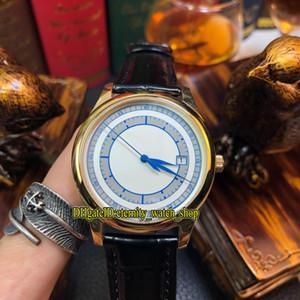 6 Farbe Luxry New Classical 5296 5296R-001 Weiß Blau Dial Japan Miyota 8215 Automatik Herren-Uhr-Goldkasten-Lederarmband Herrenuhren 01