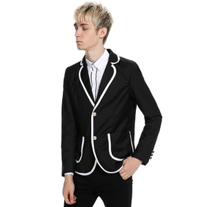 Custom Made Prom Wear Costumes Hommes noirs pour mariage blanc Slim Fit Lapel smokings marié Costume Casual Groomsmen Best Man Blazers Jacket 2piece