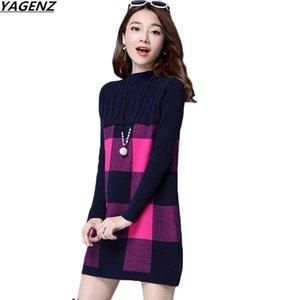 YAGENZ Kadınlar Kazak Elbise Yeni Sonbahar Kış Kazak Yarım Boyun Kaşmir Kazak Artı Boyutu Gevşek Örgü Triko Elbise Kadınlar K782