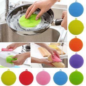 8 farben Silikon Rundbürste Geschirrspüler Multi Funktion Zwei Seiten Hängen Typ Familie Notwendigkeit Reinigungswerkzeug GGA496 300 STÜCKE
