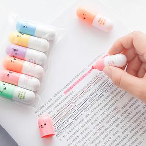 6 개 / 몫 캡슐 형광펜 비타민 알약 하이라이트 마커 컬러 펜 문구 사무실 학교 용품
