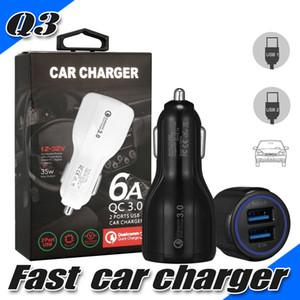 محول شاحن سريع QC3.0 شاحن سيارة مزدوج شحن سريع 3.1 فولت 5 فولت محول سيارة سريع لهواتف ايفون هواوي سامسونج LG Moto Universal