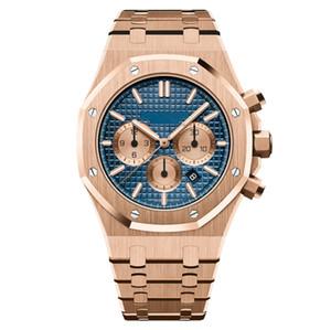 Aço inoxidável 42 milímetros Men Quartz Rose Gold Chronograph Watch Sólidos Mergulho Mens Fashion Business Waterproof 30M Assista
