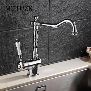 MTTUZK Estilo Cante Europeu Vintage Handle Kitchen Sink Toque em latão cromado torneira da cozinha 360 Rotatable quente e fria Bacia Mixer