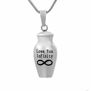 Memorial Pet Ash Urn Jewelry Casket Necklace Love You Infinity Stainless Steel Cremation Urn Pendant Necklace for Ashes