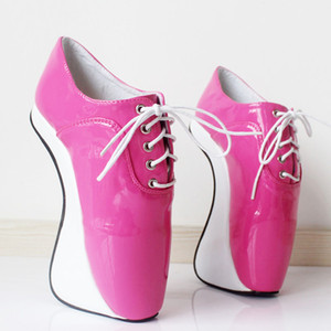 "Free DHL Women 7"" 18CM Extreme High Heels Pony Heelless Wedge Ballet Ankle boots Lace-up Fuchsia White Shiny Sexy Man Fetish Exotic Shoes"