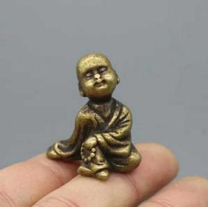 Antiquité Petit moine en bronze petit ornements petits morceaux accessoires boutique vieux cuivre
