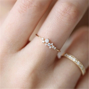 10PCS Fashion Women Ring Finger Jewelry Rose Gold Sliver Gold Color Rhinestone Crystal Opal Rings Size 6 7 8 9 10 Christmas Gift
