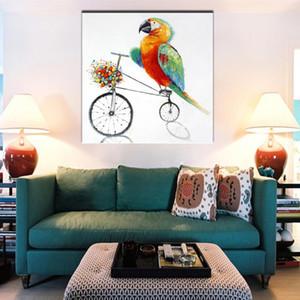 Décor à la maison Wall Art Peint à la main Peintures à l'huile de bande dessinée abstraite sur toile Grand Couteau À La Main Parrot Bicycle Painting Pictures