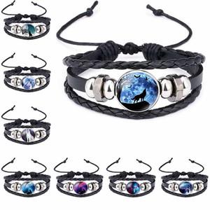 Moon Wolf Handmade Glass Cabochon Woven Leather bracelet Bangles Mens Black Punk Animal Bracelet hip hop jewelry drop ship