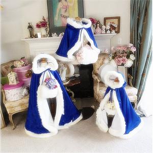 Royal blue Bambini Custom Made Ragazze Cape Kids Wedding Cloaks Faux Fur Jacket Per Winter Kid Flower Girl Bambini Satin Child