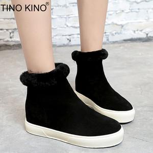 TINO KINO Mujeres Zip Flat Invierno Tobillo Botas de Nieve Señoras Suede Cálido Felpa Zapatos de Moda de Fondo Grueso Ocasional Femenino