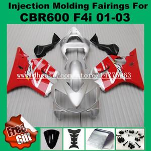F4i HONDA CBR600F4i CBR600RR Için kırmızı gümüş Enjeksiyon Fairings 01 02 03 CBR 600 F4i CBR 600F4i 2001 2002 2003 Fairing kitleri # 551L0